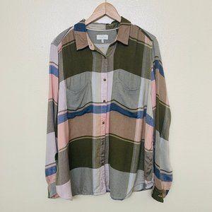 Lucky Brand Pastel Plaid Plus Shirt 2X Long Sleeve